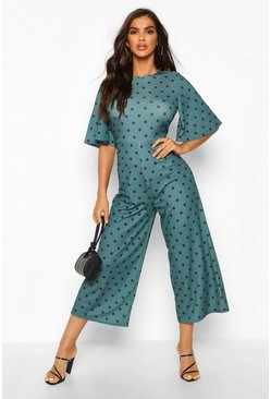 Emerald Polka Dot Flared Sleeve Culotte Jumpsuit