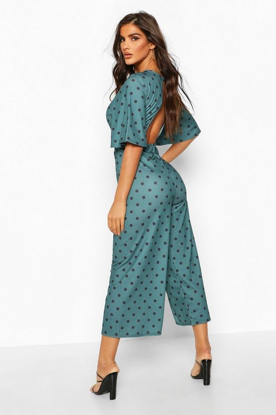 Polka Dot Flared Sleeve Culotte Jumpsuit