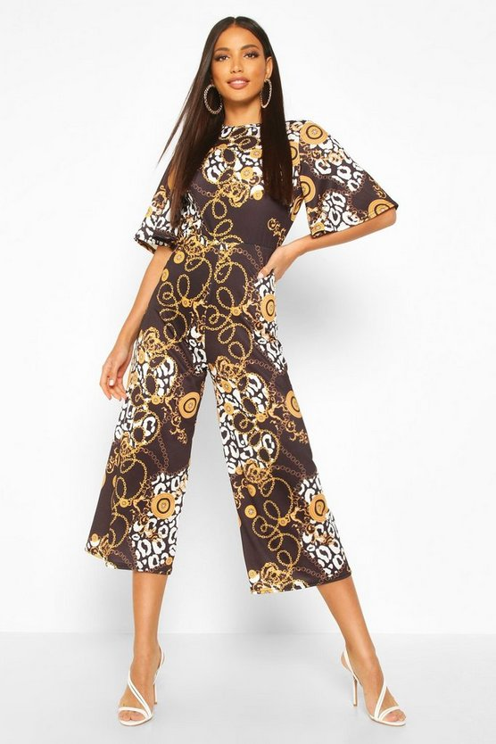 Womens Black Mixed Chain Print Flared Sleeve Culotte Jumpsuit