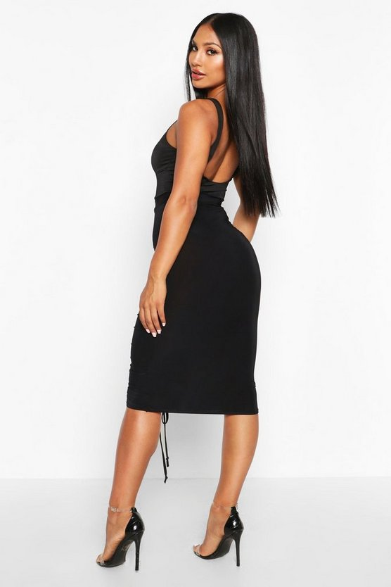 Ruched Bum Drawstring Midi Skirt