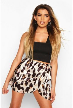 Womens Tan Wrap Front Leopard Satin Mini Skirt