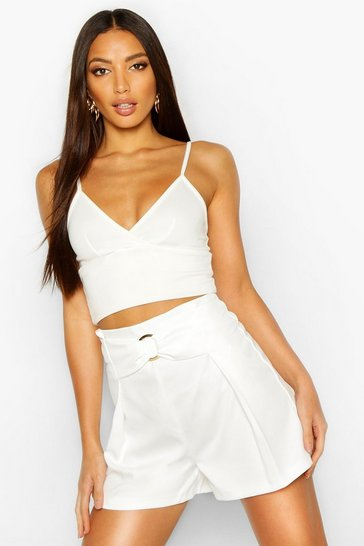 Womens Ivory O Ring Bow Detail Tailored Shorts