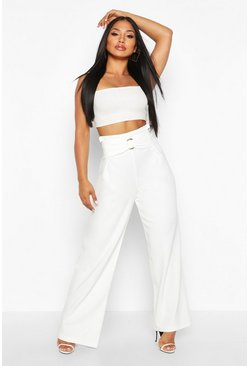 Ivory O Ring Wide Leg Trousers