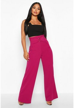 Magenta O Ring Wide Leg Trousers