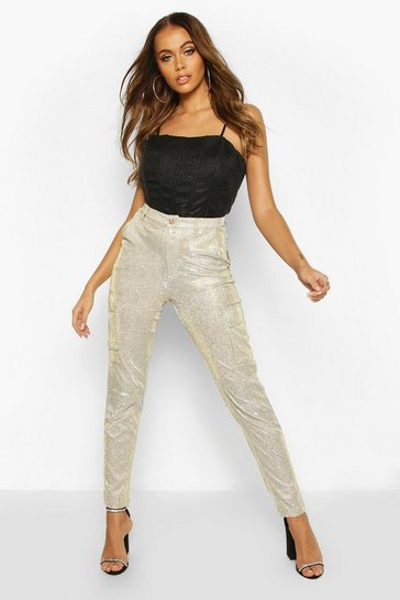 Womens Gold Glitter Metallic Pocket High Waist Trousers