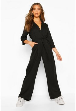 Womens Black Tailored Wide Leg Jumpsuit