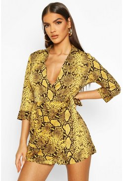 Womens Mustard Snake Print Shirt Style Playsuit