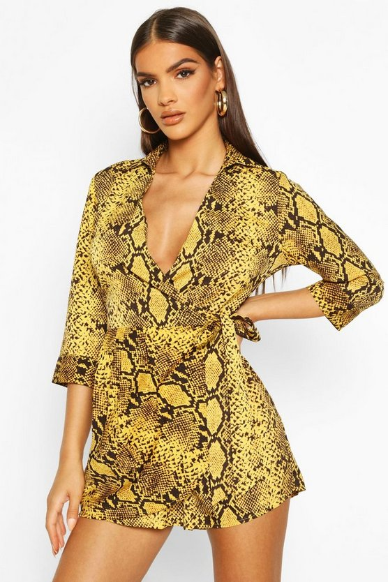 Snake Print Shirt Style Playsuit by Boohoo