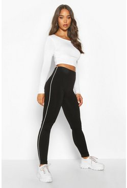 Womens Black Fleece Lined Side Stripe Supersoft Leggings