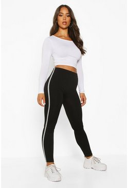 Womens Black Metallic Side Stripe Fleece Lined Leggings