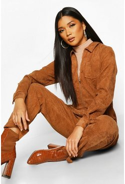 Womens Tan Baby Cord Zip Front Boilersuit