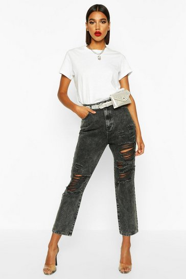 Womens Washed black Ripped Mom Jeans