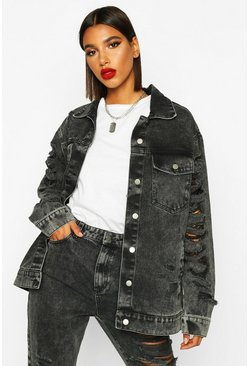 Washed black Ripped Oversized Denim Jacket