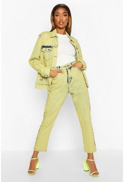 Womens Lime Acid Wash Mom Jeans