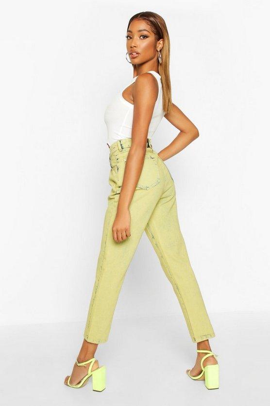 Lime Acid Wash Mom Jeans