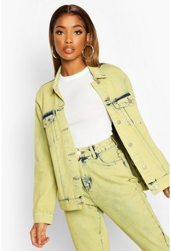 Womens Lime Acid Wash Denim Jacket