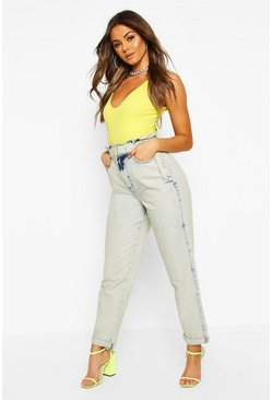 Womens Blue Paperbag Waist Belted Acid Wash Jean