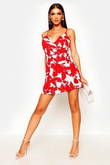 Womens Red Large Floral Print Skort Playsuit