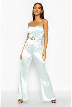 Womens Jade Buckle Detail Satin Bandeau Jumpsuit