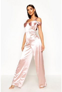 Womens Nude Bardot Off the Shoulder Stretch Satin Jumpsuit