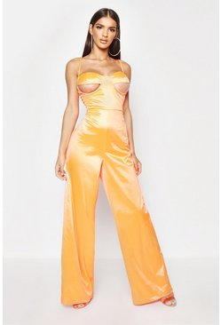 Neon-orange Under Bust Detail Stretch Satin Jumpsuit