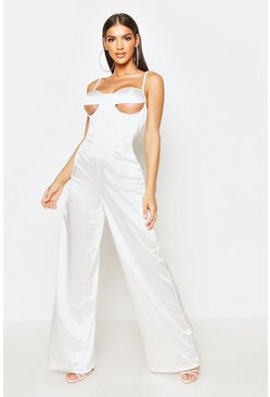Dam White Under Bust Detail Stretch Satin Jumpsuit