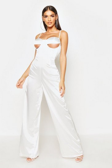 Womens White Under Bust Detail Stretch Satin Jumpsuit