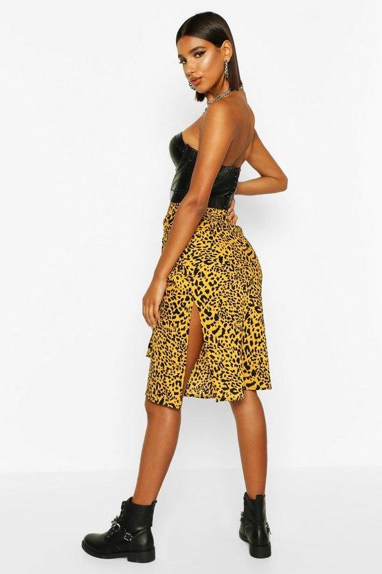 Leopard Tie Waist Midi Skirt