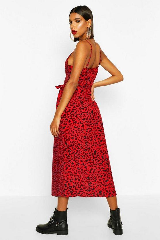 Mixed Leopard Wrap Dress