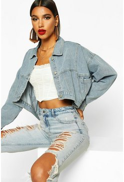 Dam Light blue Drop Back Crop Denim Jacket