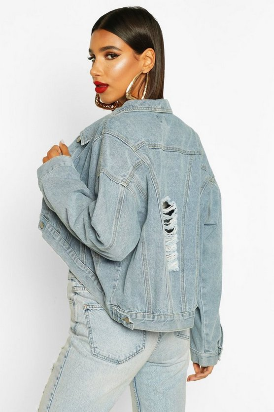 Drop Back Crop Denim Jacket