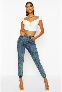 Womens Blue Acid Wash Chain Denim Jogger
