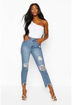 Mid blue High Rise Distressed Frayed Straight Leg Jean