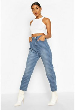 Womens Blue High Rise Stripe Mom Jean