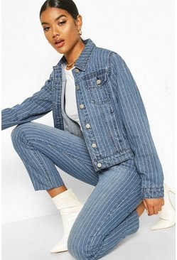 Womens Blue Stripe Slim Fit Jacket