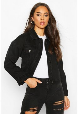 Black Acid Wash Distressed Denim Jacket