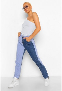 Womens Blue Contrast High Rise Boyfriend Jean