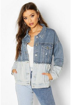 Womens Blue Contrast Oversize Denim Jacket
