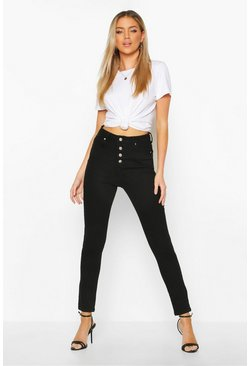 Womens Black Exposed Button Front High Rise Skinny Jean