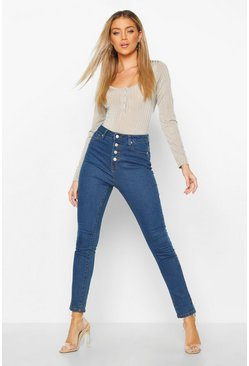 Womens Mid blue Exposed Button Front High Rise Skinny Jean