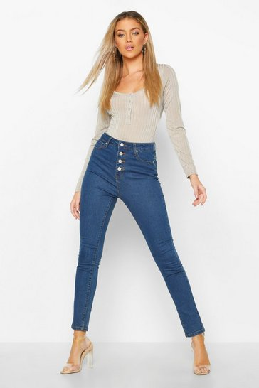 Mid blue Exposed Button Front High Rise Skinny Jean