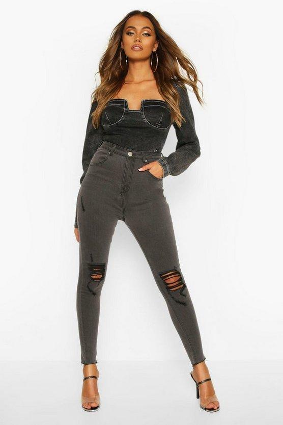 High Rise Black Thread Distressed Skinny Jean