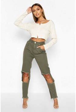 Khaki Ripped zip Hem High Rise Mom Jean