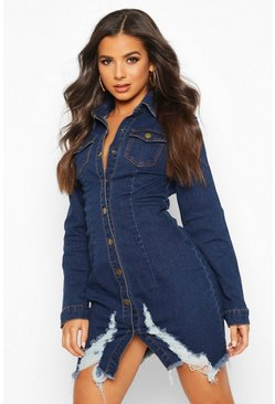 Womens Dark blue Bodycon Ripped Denim Shirt Dress