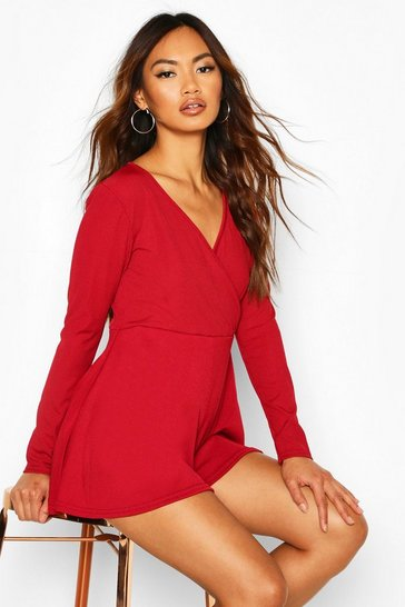 Berry Wrap Front Long Sleeve Ribbed Playsuit