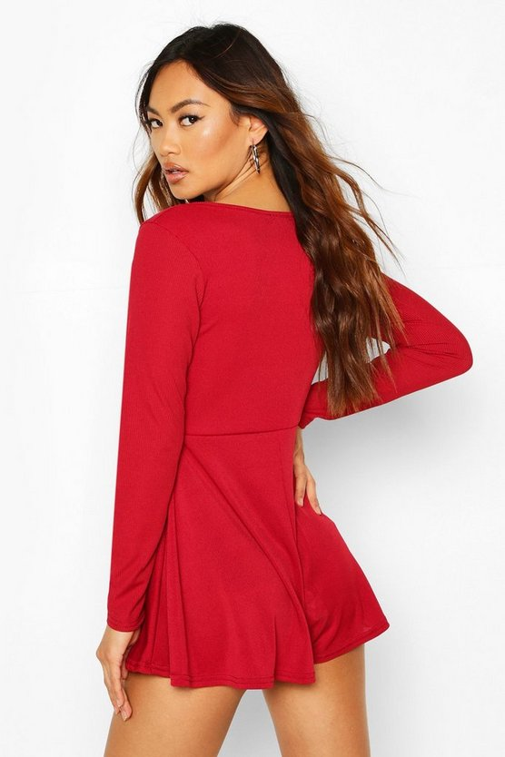 Wrap Front Long Sleeve Ribbed Playsuit