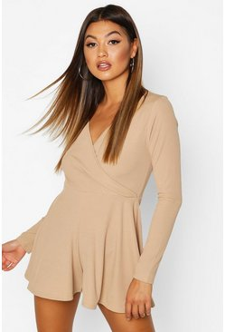 Womens Sand Wrap Front Long Sleeve Ribbed Playsuit