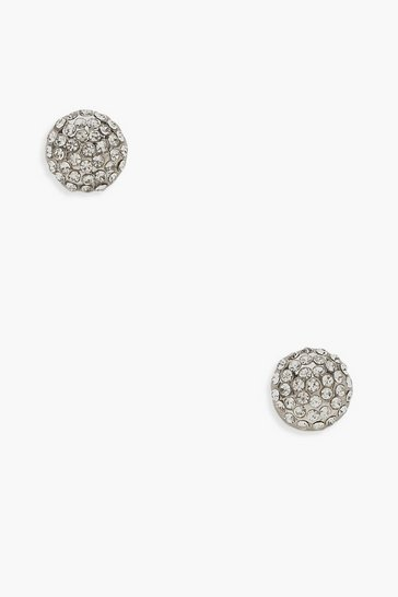 Womens Silver Diamante Cluster Stud Earrings
