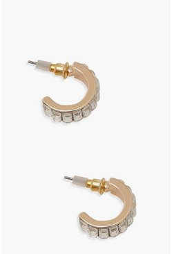 Womens Gold Baguette Stone Mini Hoop Earrings