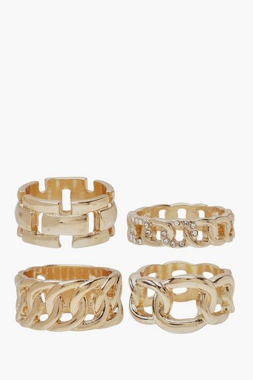 Womens Gold Chunky Chain Ring Pack